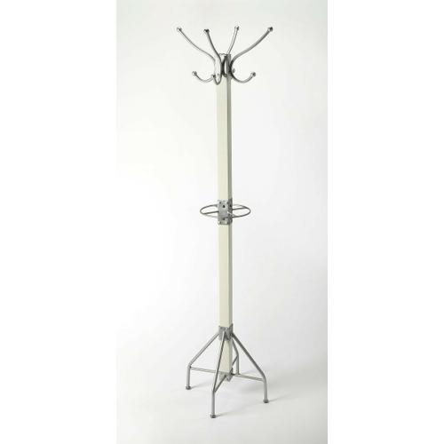 Butler Specialty Company - This rustic contemporary coat rack is an ideal addition in any entryway, den or office space to hang hats, jackets, umbrellas, or in a bathroom for towels and robes. It features 2 tiers of silver finished iron hooks and a matching base with a solid mango wood post finished in white.
