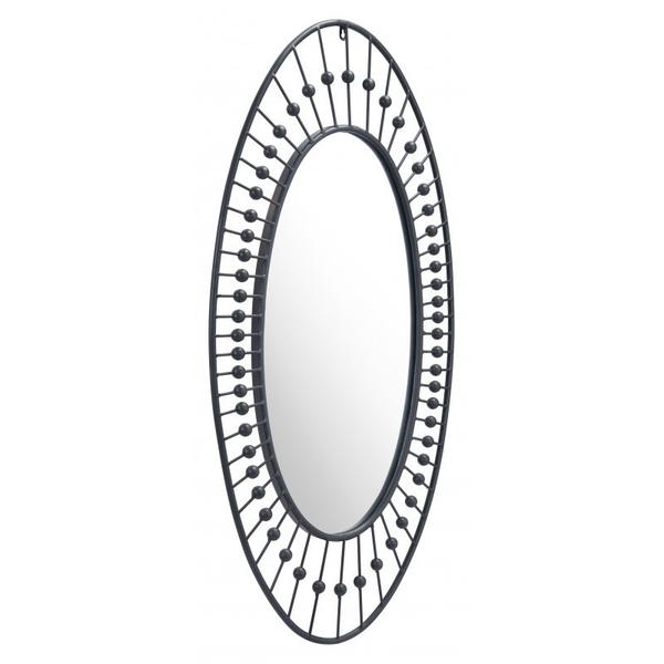 Cusp Oval Mirror Black