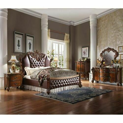 ACME Vendome II Queen Bed - 28020Q - PU & Cherry