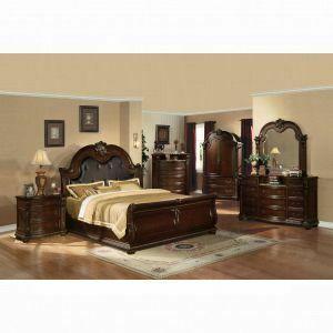 ACME Anondale Queen Bed - 10310Q - Espresso PU & Cherry