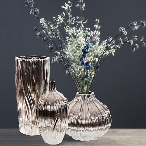 Howard Elliott - Metallic Silver Ribbed Ceramic Bottle Vase
