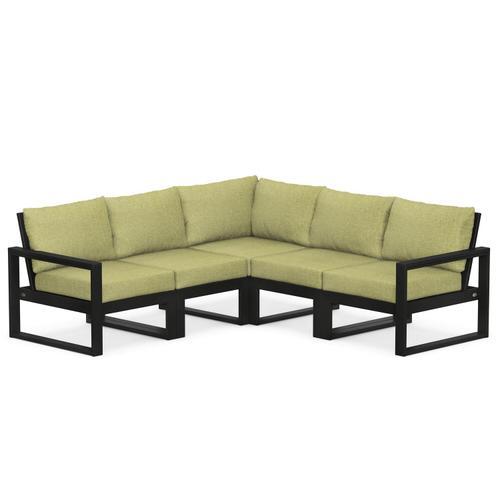 Polywood Furnishings - EDGE 5-Piece Modular Deep Seating Set in Black / Chartreuse Boucle