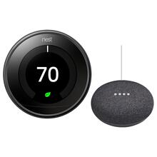 Thermostat Mirror With Google Mini Black