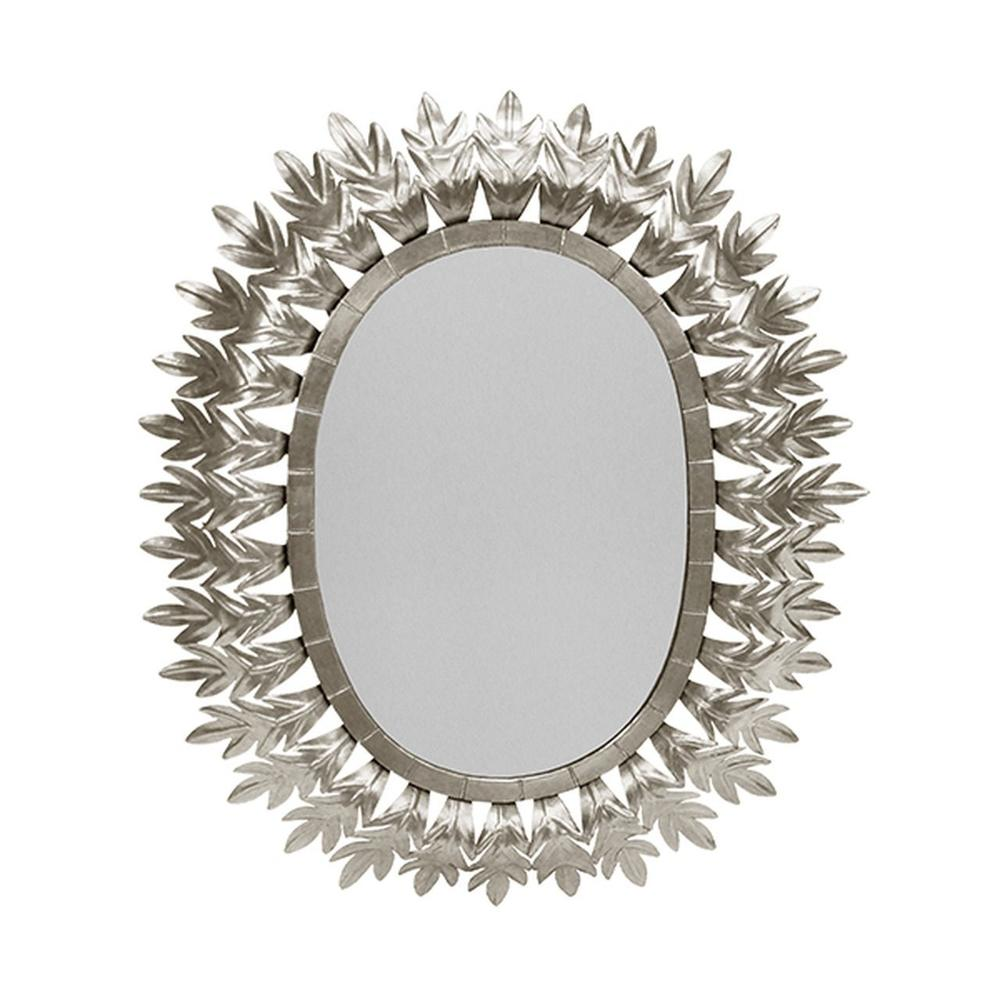 Inspired By Caesar's Crown of Gilded Laurels, the Oval Metal Frame On Our Lona Mirror Is A Starburst of Style. Hand Finished In Silver LEAF.