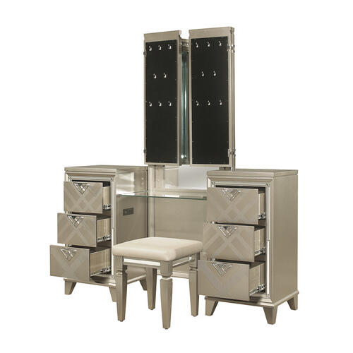 Homelegance - Vanity Dresser with Mirror and LED Lighting