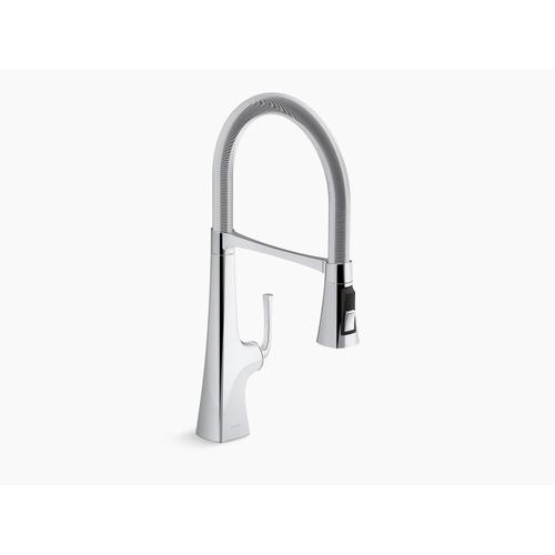 "Polished Chrome Single-handle Semi-professional Kitchen Sink Faucet With 21-9/16"" Spout"
