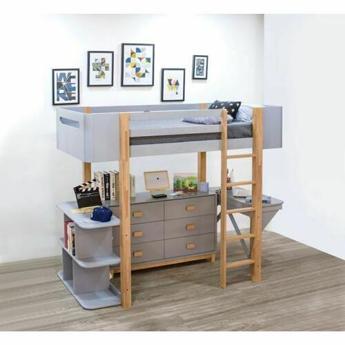 ACME Saiyan Loft Bed Set (Desk & Bookshelf) - 37990 - Scandinavian, Contemporary - Wood (Rbw), Veneer (LVL/Poplar), MDF - Gray and Natural