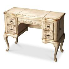 Hand painted finish on selected hardwoods and wood products. Decorative hand painted finish. Side doors open for jewelry storage. Top sides open to reveal felt lined sections. Top center with mirror opens to reveal felt lined compartment. Four felt lined drawers with antique brass finished hardware.