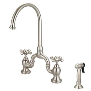 Banner Kitchen Bridge Faucet with Metal Cross Handles - Brushed Nickel Product Image