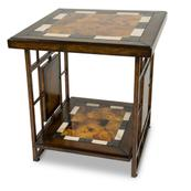 Sao Paulo End Table W/stone Top & Metal Accent Base