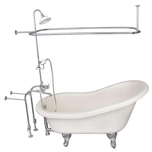"Estelle 60"" Acrylic Slipper Tub Kit in Bisque - Polished Chrome Accessories"