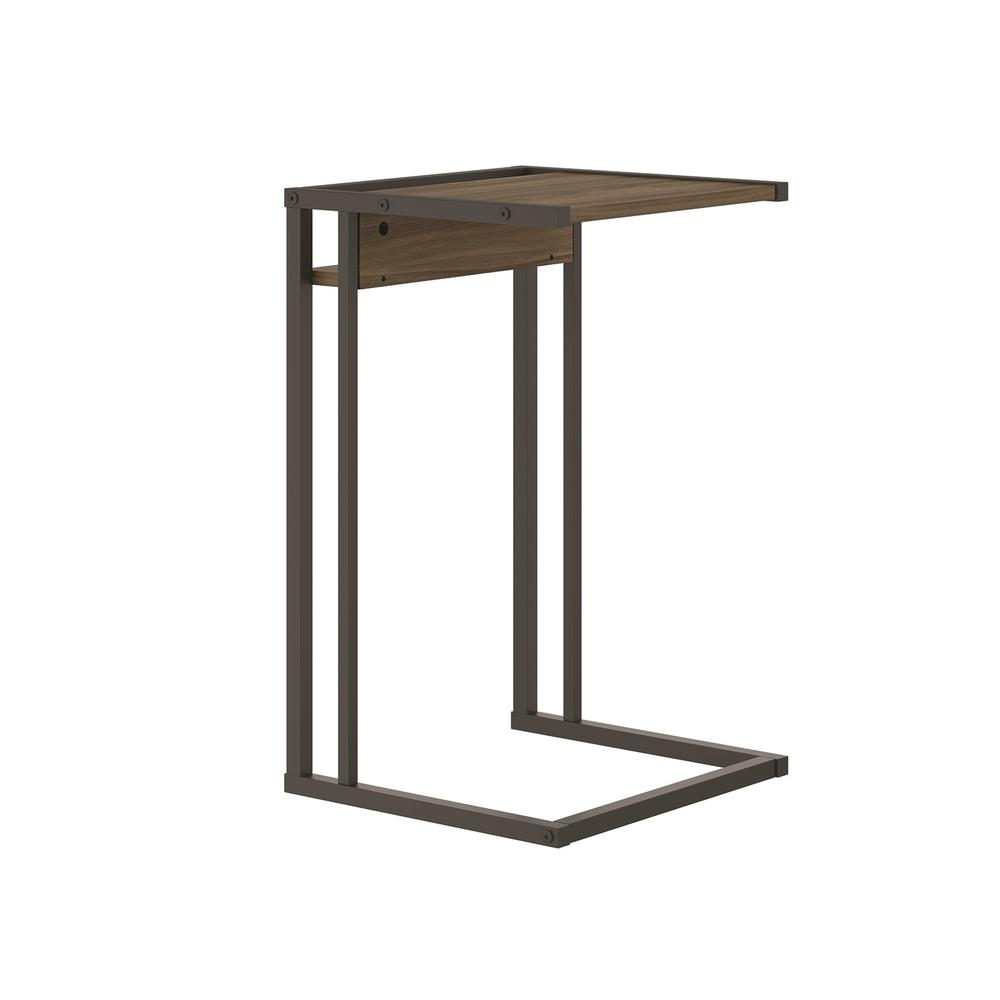 The Noa C End Table Part Of Our Kd Collection In Dark Brown Oak Melamine With Black Painted Metal Frame