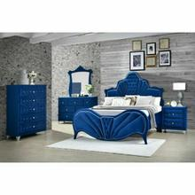 ACME Dante Queen Bed - 24220Q - Glam - Velvet, Inner Frame: MDF, PB, Chipboard - Blue Velvet