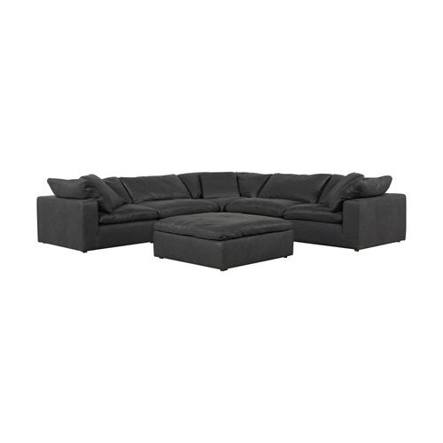 Moe's Home Collection - Clay Ottoman Nubuck Leather Black