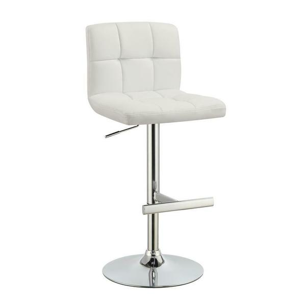 See Details - Contemporary White Adjustable Padded Back Bar Stool