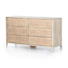 Natural Mango Finish Sydney 6 Drawer Dresser