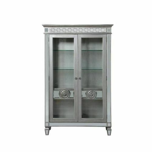 ACME Varian Curio - 66166 - Glam, Vintage - Mirror, Wood (Poplar/Rbw), Poly-Resin, MDF - Mirrored and Antique Platinum
