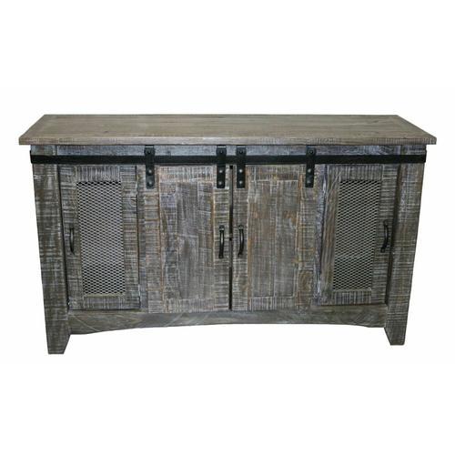 """Million Dollar Rustic - 60"""" Barnwood Tv/buffet W/ Sliding Doors"""