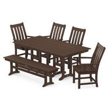 View Product - Vineyard 6-Piece Farmhouse Trestle Side Chair Dining Set with Bench in Mahogany
