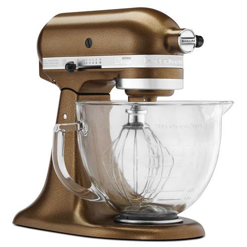 KitchenAid - Artisan® Design Series 5 Quart Tilt-Head Stand Mixer with Glass Bowl Antique Copper