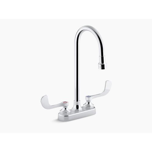 Polished Chrome 0.5 Gpm Centerset Bathroom Sink Faucet With Aerated Flow, Gooseneck Spout and Wristblade Handles, Drain Not Included
