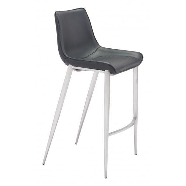 Magnus Bar Chair Black & Silver