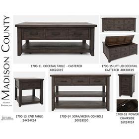 Madison County Harris Power Chairside Table - Barnwood