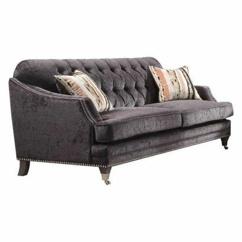 ACME Helenium Sofa w/2 Pillows - 50215 - Gray Chenille