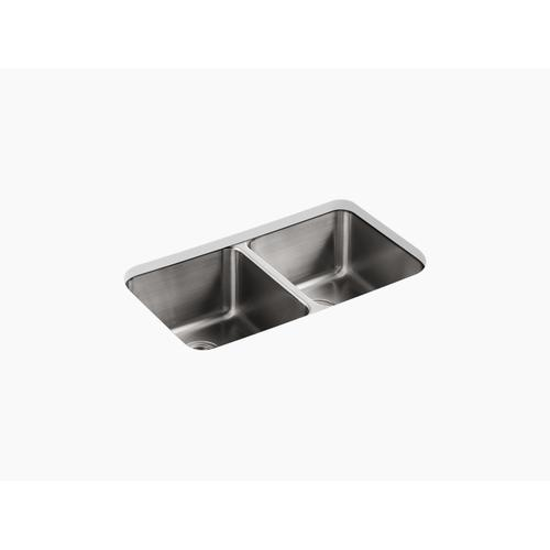 "31-1/2"" X 18"" X 9-3/4"" Undermount Double-equal Bowl Kitchen Sink"