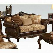 ACME Remington Loveseat w/3 Pillows - 50156 - Bonded Leather/Fabric & Cherry Product Image