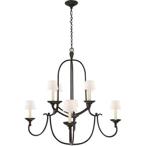 Visual Comfort - Chapman & Myers Flemish 8 Light 38 inch Aged Iron Chandelier Ceiling Light in Linen, Medium