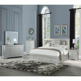 ACME Louis Philippe III Queen Bed - 24920Q - Platinum