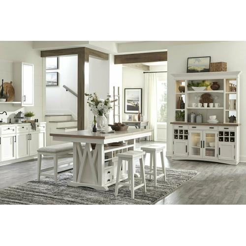 AMERICANA MODERN DINING Island Counter Height Table 72 in. x 42 in. to 90 in, (18 in Butterfly Leaf)