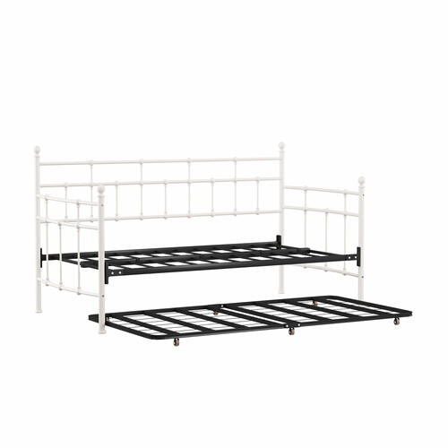 Hillsdale Furniture - Providence Metal Twin Daybed With Roll Out Trundle, Soft White