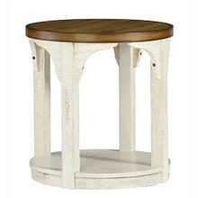 Round End Table - Oak/Antique White Finish