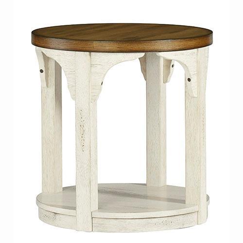 Round End Table - Oak/Antique White Finish