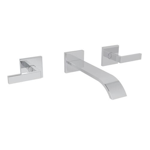 Polished Chrome Wave Wall Mount Widespread Lavatory Faucet with Wave Metal Lever