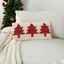 "Home for the Holiday Dc569 Ivory Red 12"" X 24"" Throw Pillow"