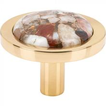 View Product - FireSky Mohave Yellow Knob 1 9/16 Inch Polished Brass Base Polished Brass