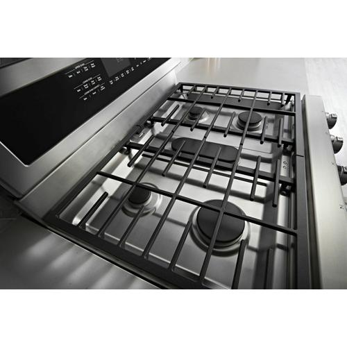 KitchenAid - 30-Inch 5 Burner Gas Double Oven Convection Range - Stainless Steel