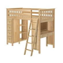 See Details - All in One Loft Bed Storage Study Natural