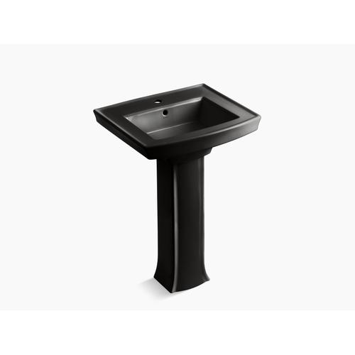 Black Black Pedestal Bathroom Sink With Single Faucet Hole