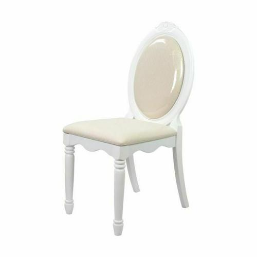 ACME Flora Armless Chair - 01689 - Fabric & White
