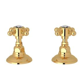 Set of Hot and Cold 3/4 Inch Sidevalves - Italian Brass with Crystal Cross Handle
