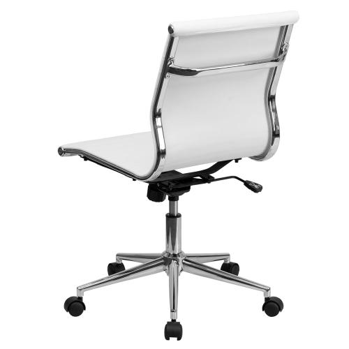 Mid-Back Armless White Ribbed Leather Swivel Conference Chair