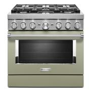 KitchenAid® 36'' Smart Commercial-Style Dual Fuel Range with 6 Burners Avocado Cream Product Image