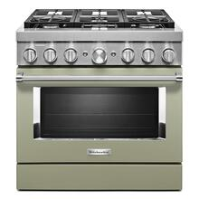 KitchenAid® 36'' Smart Commercial-Style Dual Fuel Range with 6 Burners Avocado Cream