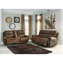 Austere 2 Seat Reclining & Console Loveseat Sofa Brown