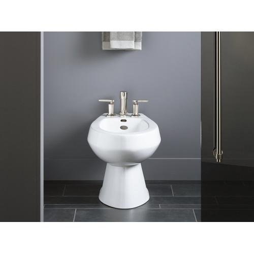 White Vertical Spray Bidet With 4 Faucet Holes
