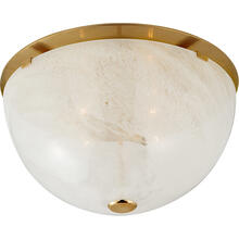 AERIN Serein 4 Light 18 inch Hand-Rubbed Antique Brass Flush Mount Ceiling Light, Large